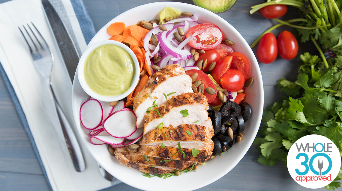 Grilled Chicken Salad With Avocado Vinaigrette